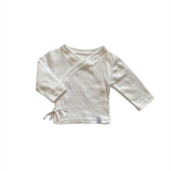 Longsleeve - Overslag Off white cotton ajour