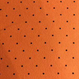 Jersey katoen /oranje zwarte stip