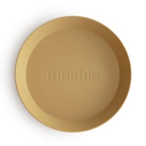 MUSHIE   PLATES Round -  MUSTARD (2 stuks)