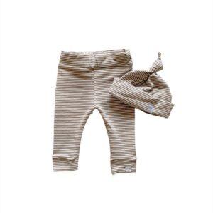 Newborn set - Streep dark beige